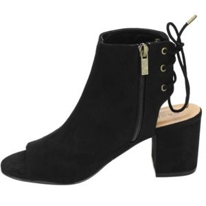 Ankle Open Back Lace Booties Peep Toe Black Suede